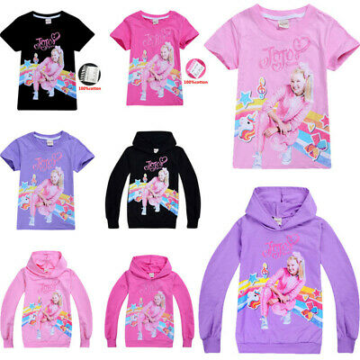 Kids Girls JoJo Siwa 100% Cotton T- Shirts Casual Hoodies Tops Clothes Xmas Gift