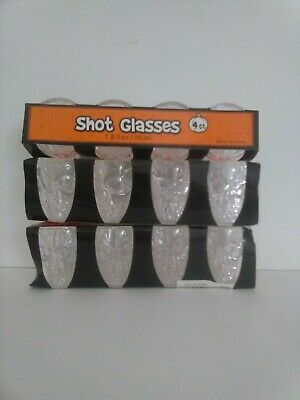 "Halloween Skull Shot Glass ""Clear"" Head Set of 12 Vodka Whiskey Cup Party"
