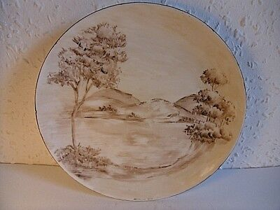 Hand Painted & Signed Countryside Scene.Decorative 7 Inch Ceramic Side Plate.