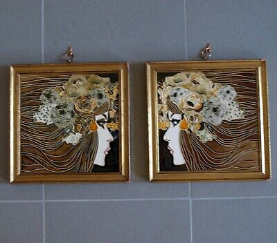 RARE Pair of Exquisite Antique Majolica Art Nouveau Tiles - Gemini Twin Ladies