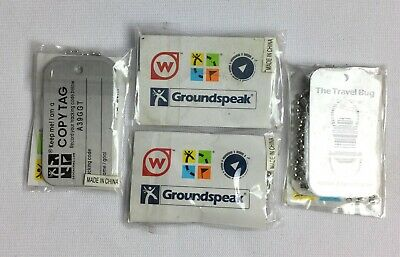 Geocaching Travel Bug Lot of 4 Trackable Groundspeak Dog Tag Unactivated NOS