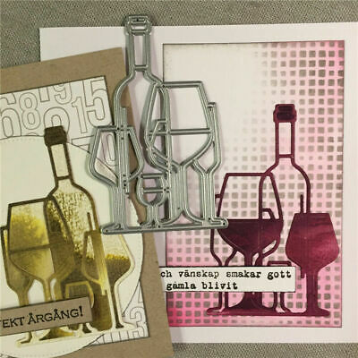 Cutting Dies**Wine and Glasses**Christmas*Birthday*Cards*Topper