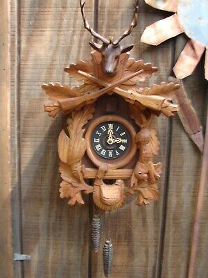 Cuckoo Clock Hunter Glass Eye Rabbit & Bird Schmeckenbecker