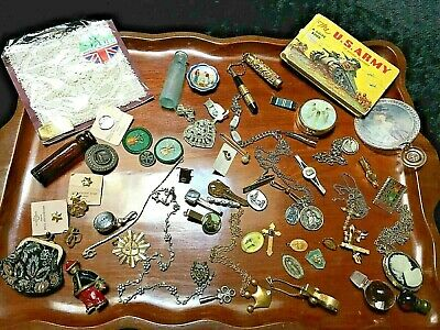 LARGE Vtg Junk Drawer UniQue LOT Bottles Mixed JEWELRY Religious Girl Scouts++