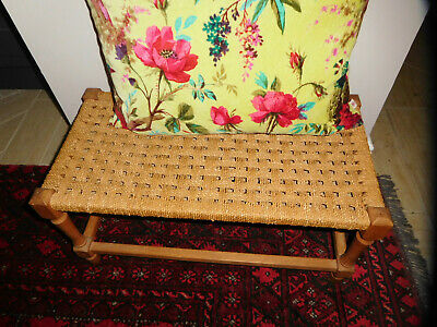 Vintage wood woven rush reed footstool child bench rectangle
