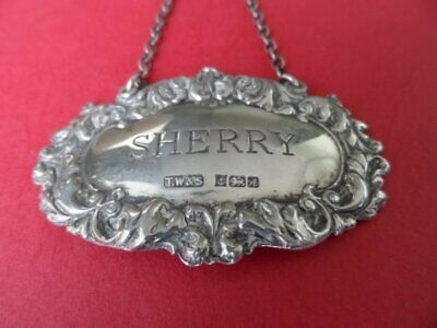 Beautiful Vintage Hallmarked Solid Silver Sherry Decanter Label Birmingham 1975
