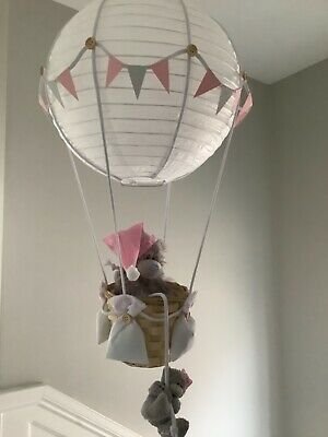 Hot  air balloon pink nursery light shade, made to order