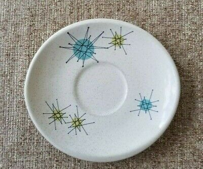 Franciscan ATOMIC STARBURST Saucer INTERPACE USA Blue w/ Speckles Mid Century