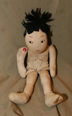 """Primitive Vintage Hand Made Cloth Doll Asian? 14"""" No Clothes"""