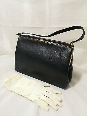 VINTAGE 1940'S 50s 60s STYLE BLACK LEATHER  HANDBAG  & GLOVES