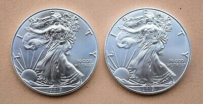 Lot of 2 - 2017 1 oz Silver American Eagle $1 Coins
