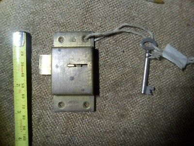 cupboard lock, surface mounted, brass, 77 mm, reclaimed (EP2)