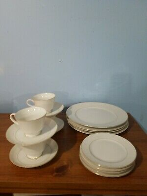 "CHINA: NORLEANS ""WHITE LACE"", SETTING FOR 4, TOTAL OF 16 PCS, plates, cups etc"