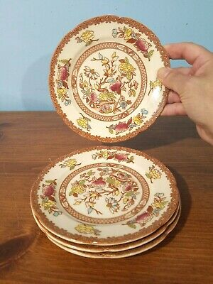 "CHINA: MARUTA Indian Tree, BREAD PLATES, 6.5"", SET OF 4, brown multicolors VTG"