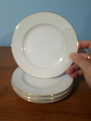 """CHINA: NORLEANS """"WHITE LACE"""", BREAD PLATES 6.25"""", SET OF 4, gold trim"""