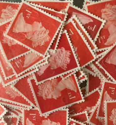 50+ 5% FREE1st Class Red Unfranked Security Stamps No Gum EXCELLENT CONDITION