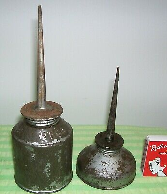 Vintage Oil Cans x 2.  Larger one REGA Brand.