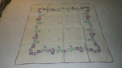 """Vintage Small Linen Embroidered TABLECLOTH, Shades of PURPLE FLORAL 31""""x31-1/2"""""""