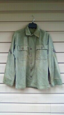 Vtg WW2 HBT US Military Shirt Jacket WWII Olive Drab 40s US Army
