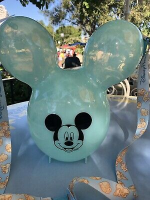 Disney Parks 2019 Arendelle Frozen Aqua Blue Mickey Ears Balloon Popcorn Bucket