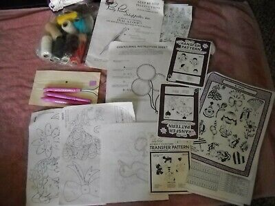 Pretty Punch Needle Embroidery Lot tools iron on transfer patterns threads  ++