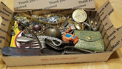 Vintage Junk drawer lot mickey mouse old razor coins tokens jewelry