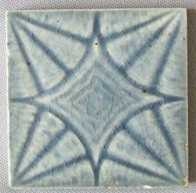 Vintage Tile Blue Geometric Star Providential Trenton Antique NJ Ceramic