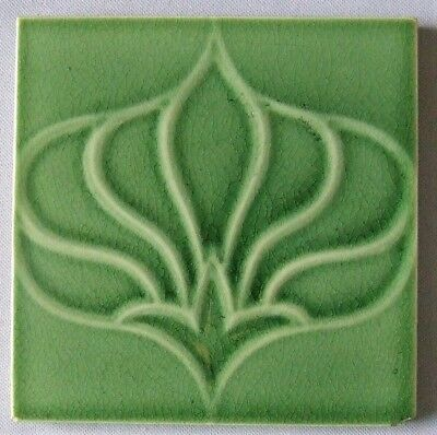 Pilkington English Art Nouveau Tile Green Stylized Flower Antique Ceramic