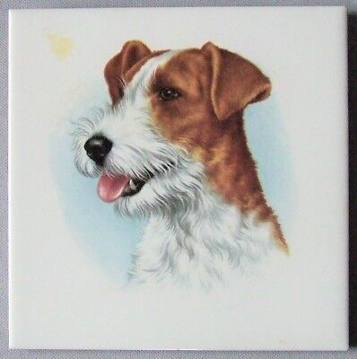 Vintage Russell Terrier Tile Dog Breed Portrait Ceramic Trivet Wall Hanging