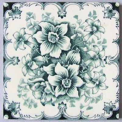 Antique Blue & White Floral Transferware Tile by Sherwin Cotton Nicotiana Ferns