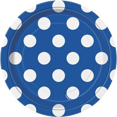 """Paper Plates Dots Royal Blue 18Cm (7"""") Pack Of 8 Birthday Party Supplies"""