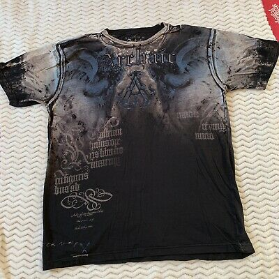 Archaic by Affliction Mens Black/multicolor Cotton Short Sleeve T-Shirt XL