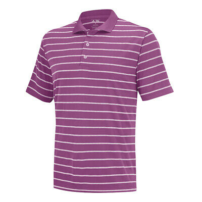 New 2015 Adidas Puremotion 2-Color Stripe Classic Polo - Lucky Pink - Small