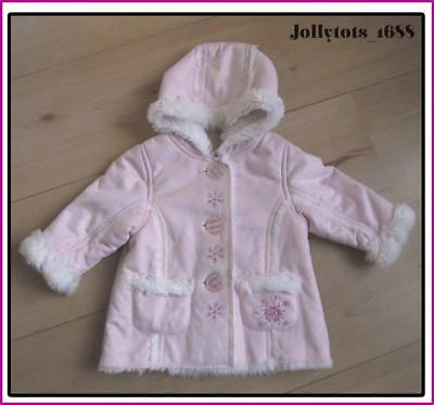 New Baby Girls Pink Winter Coat Faux Sheepskin Age 3-6 Months Mothercare