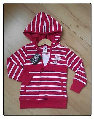 New Girls Red & White Jumper Ages 3 & 7 Years Striped Hooded Long Top Hoodie