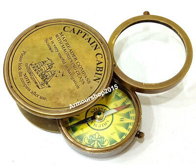 Nautical Brass Antique Poem Compass Made For Royal Navy Vintage Compass