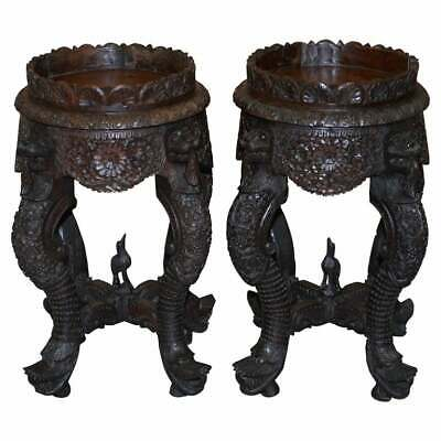 Pair Of Circa 1920 Burmese Carved Wood Jardiniere Plant Pedestal Stands Lions