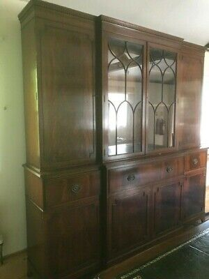 Large Regency style Breakfront Bookcase with concealed drinks bar