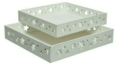 White Stars Set Of Two Wooden Christmas Trays