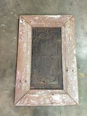 FRAMED TIN CEILING WALL DECOR  EMBOSSED BARN WOOD READY TO HANG 35 x 22 farm