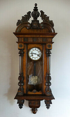 Antique Victorian Vienna Wall Clock by HAC Germany Chiming 8 Day Movement c1890