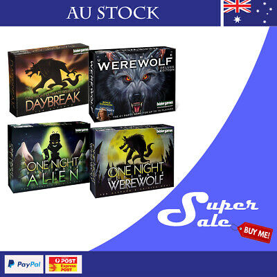 One Night Ultimate Werewolf/ Daybreak/ Alien/ Deluxe Party Card Game AU STOCK