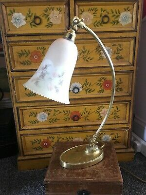 Lovely Old Antique Brass Desk Lamp by GEC with Etched Glass Light Shade