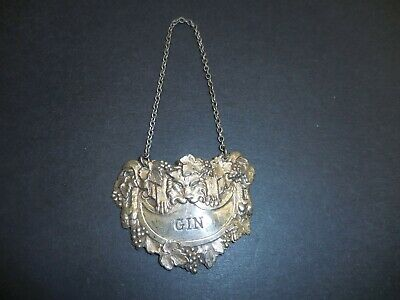 Vintage England Silverplate Gin Liquor Decanter Bottle Hang Tag Lion Grapes