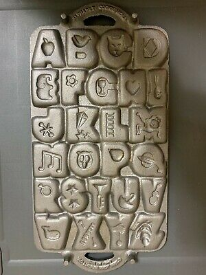 Vintage 1985 John Wright Heavy Cast Iron Alphabet Letters Cookie Mold *Perfect!