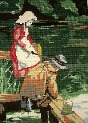 Twilleys Completed Cross Stitch Unframed Tapestry Picture Fishing