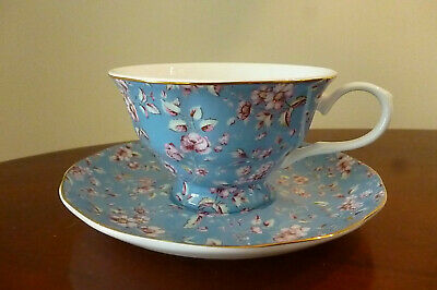 Katie Alice Ditsy Floral Fine Bone China Cup And Saucer Teal - New and unused