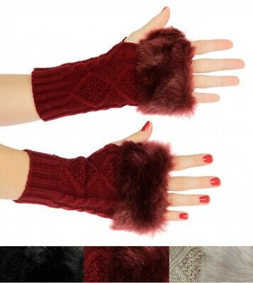 Ladies Super Soft Faux Fur Cable Knit Fingerless Gloves, New, Free Shipping