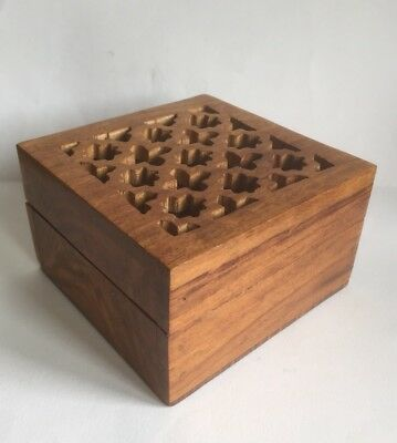Vintage Wooden Box With Pierced Design Lid Ideal For Pot Pourri Or Incense