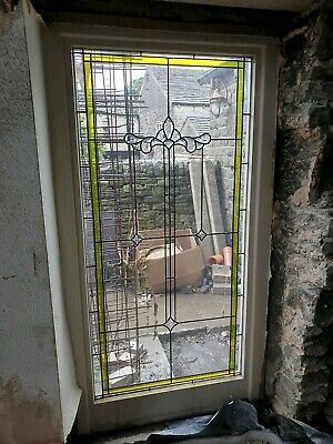 Large Stained Glass Window in Wooden Frame.